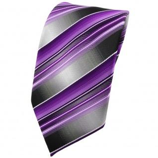 TigerTie Krawatte lila flieder anthrazit silber grau gestreift - Tie Binder