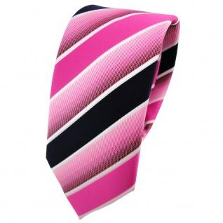 Schmale TigerTie Designer Krawatte pink rosa dunkelblau weiß gestreift - Binder