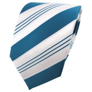 TigerTie Satin Krawatte türkis ozeanblau weiß silber gestreift - Binder Schlips