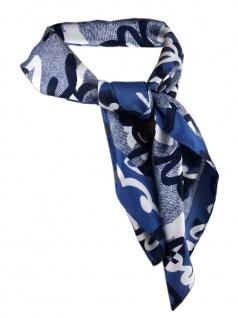 Nickituch in marine blau grauweiss gemustert - Gr. 50 x 50 cm - Tuch Halstuch