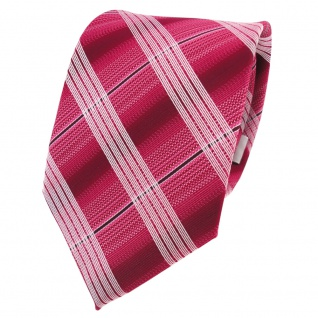 Designer Krawatte rot himbeerrot bordeaux silber kariert - Schlips Binder Tie