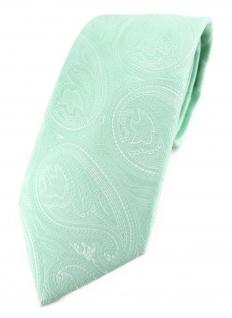 TigerTie Designer Krawatte in mint silberweiss Paisley gemustert