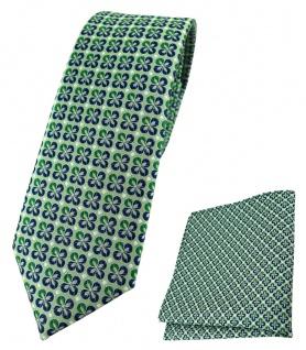 schmale TigerTie Krawatte + Einstecktuch in grün silber marine gemustert