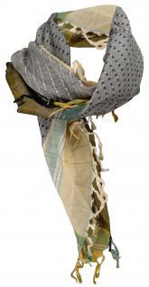 Halstuch in grün beige ocker grau gemustert mit Fransen - Glitzerfaden eingewebt