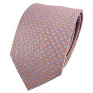 Designer Seidenkrawatte orange grau silber gepunktet - Krawatte Seide Silk