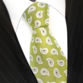 Seidenkrawatte grün hellgrün silber weiss Paisley - Krawatte 100 % Seide / Silk