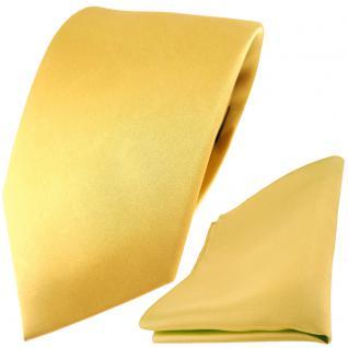 TigerTie Satin Seidenkrawatte + Seideneinstecktuch gold hellgold einfarbig Uni