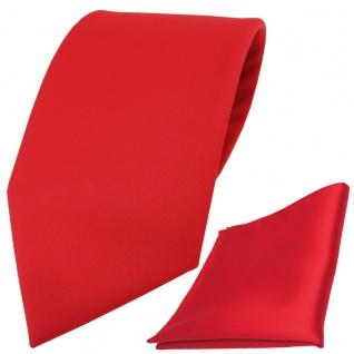 Extra breite TigerTie Satin Krawatte + Einstecktuch in rot Uni einfarbig