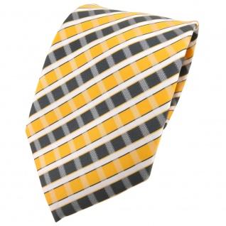 TigerTie Designer Krawatte in gelb grau silber weiss gestreift - Tie Binder