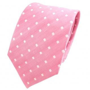 TigerTie Designer Seidenkrawatte rosa hellrosa weiß gepunktet - Krawatte Seide
