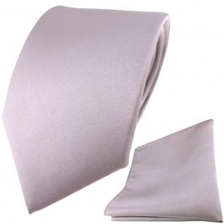 TigerTie Satin Seidenkrawatte + Seideneinstecktuch in silber grau einfarbig Uni