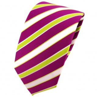 Schmale TigerTie Krawatte magenta fuchsia grün weiß gestreift - Binder Tie