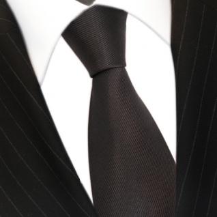 TigerTie Seidenkrawatte anthrazit dunkelgrau grau Uni Rips - Krawatte 100% Seide - Vorschau 3