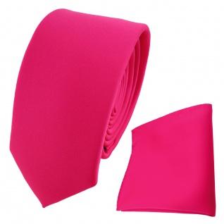 schmale TigerTie Krawatte + Einstecktuch pink knallpink neonfarben einfarbig Uni