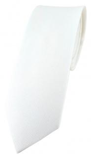 schmale TigerTie Krawatte in weiss Uni - 100% Baumwolle - Krawattenbreite 6 cm