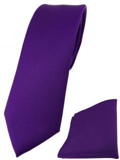 schmale TigerTie Designer Krawatte + Einstecktuch in dunkellila einfarbig uni