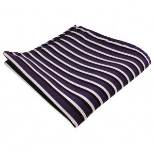 TigerTie Einstecktuch in lila dunkellila schwarz weiß - Tuch 100% Polyester