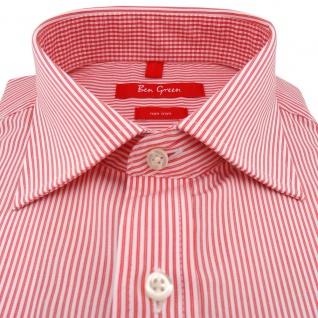 Ben Green Herrenhemd rot weiß langarm bügelfrei - New-Kent-Kragen Hemd Gr.40 - Vorschau 2