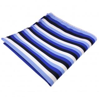 schönes Designer Einstecktuch in blau marine royal weiß pastellblau gestreift