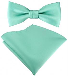 SET Kleinkinder Baby Fliege in grün mint Fliege verstellbar + Einstecktuch + Box - Vorschau