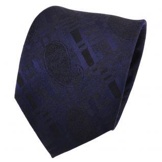 TigerTie Designer Seidenkrawatte blau dunkelblau schwarz gemustert - Krawatte