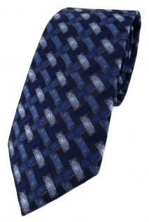 TigerTie Designer Krawatte in blau marine dunkelblau - Motiv Flechtmuster