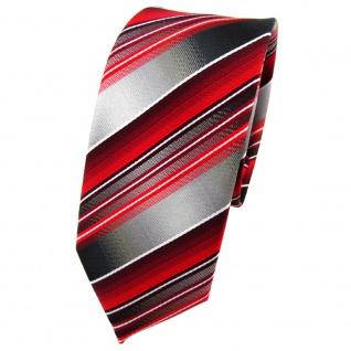 schmale TigerTie Krawatte rot verkehrsrot anthrazit silber gestreift - Binder