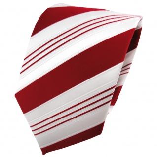 TigerTie Satin Krawatte rot signalrot weiß silber gestreift - Binder Schlips Tie