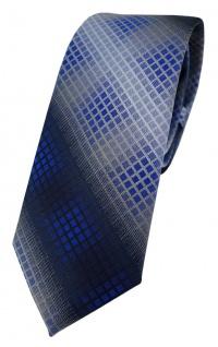 schmale TigerTie Designer Krawatte in royal marine silber grau anthrazit kariert