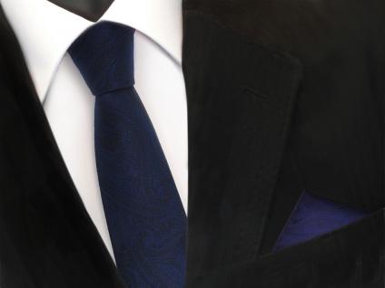schmale TigerTie Krawatte + Einstecktuch dunkelblau marin schwarz paisley Muster - Vorschau 2