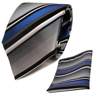 TigerTie Seidenkrawatte + Einstecktuch blau silber grau weiß schwarz gestreift
