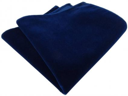 TigerTie Baumwollsamt Designer Einstecktuch blau dunkelblau marine einfarbig Uni