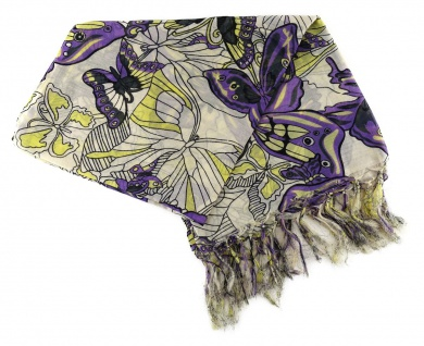 Damen Halstuch in lila gelb grau mit Schmetterling Motiv - Tuch Gr. 90 x 90 cm