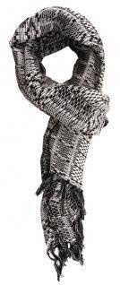 TigerTie Schal in grau schwarz gemustert mit Fransen - 170 x 50 cm