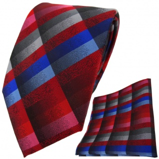 TigerTie Krawatte + Einstecktuch in rot blau rosa anthrazit grau silber kariert - Vorschau