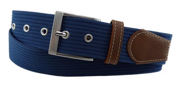 TigerTie - Stoffgürtel in blau dunkelblau einfarbig - Bundweite 90 cm