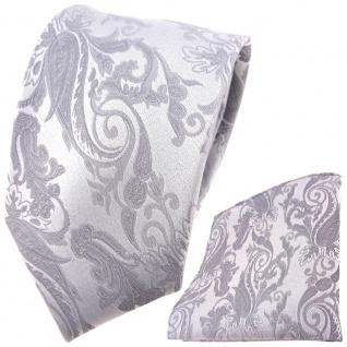 Hochzeit Seidenkrawatte + Einstecktuch in silber Paisley Uni