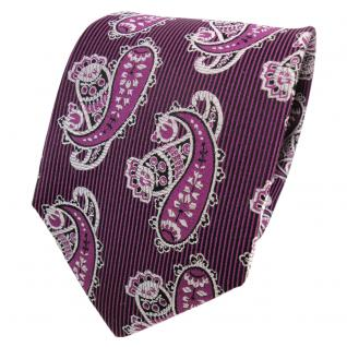 TigerTie Designer Seidenkrawatte magenta silber schwarz Paisley - Krawatte Seide
