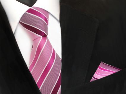 TigerTie Seidenkrawatte + Einstecktuch in rosa magenta pink weiß gestreift