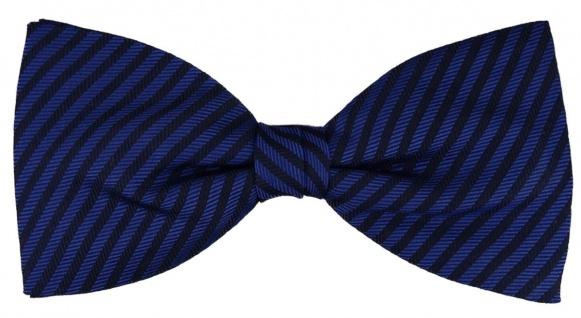 TigerTie Seidenfliege in royal blau schwarz gestreift - Fliege 100% Seide