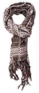 TigerTie Schal in dunkelbraun grau gemustert mit Fransen - 170 x 50 cm