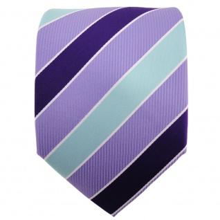 TigerTie Designer Krawatte violett flieder mint silberweiß gestreift - Binder - Vorschau 2