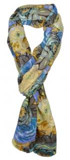 TigerTie Schal blau braun beige gelb türkis grün mit Blumenmuster - 180 x 50 cm