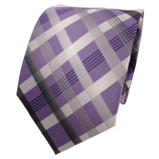 Designer Krawatte lila silber grau anthrazit kariert - Schlips Binder Tie