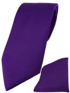 TigerTie Designer Krawatte + TigerTie Einstecktuch in dunkellila einfarbig uni