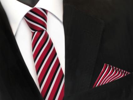 schmale TigerTie Designer Krawatte + Einstecktuch in rot schwarz weiss gestreift - Vorschau