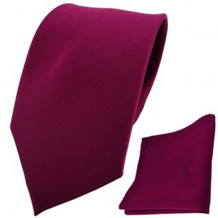 TigerTie Designer Krawatte + Einstecktuch violett bordeauxviolett einfarbig