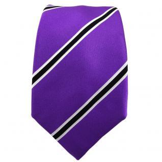 Enrico Sarto Seidenkrawatte lila violett schwarz weiß gestreift - Krawatte Seide - Vorschau 2
