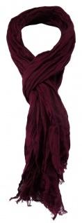 TigerTie - gecrashter Schal in bordeaux einfarbig - Gr. 180 x 50 cm - Vorschau
