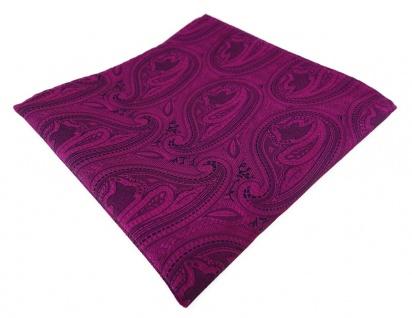 TigerTie Designer Einstecktuch in magenta beere lila schwarz Paisley gemustert